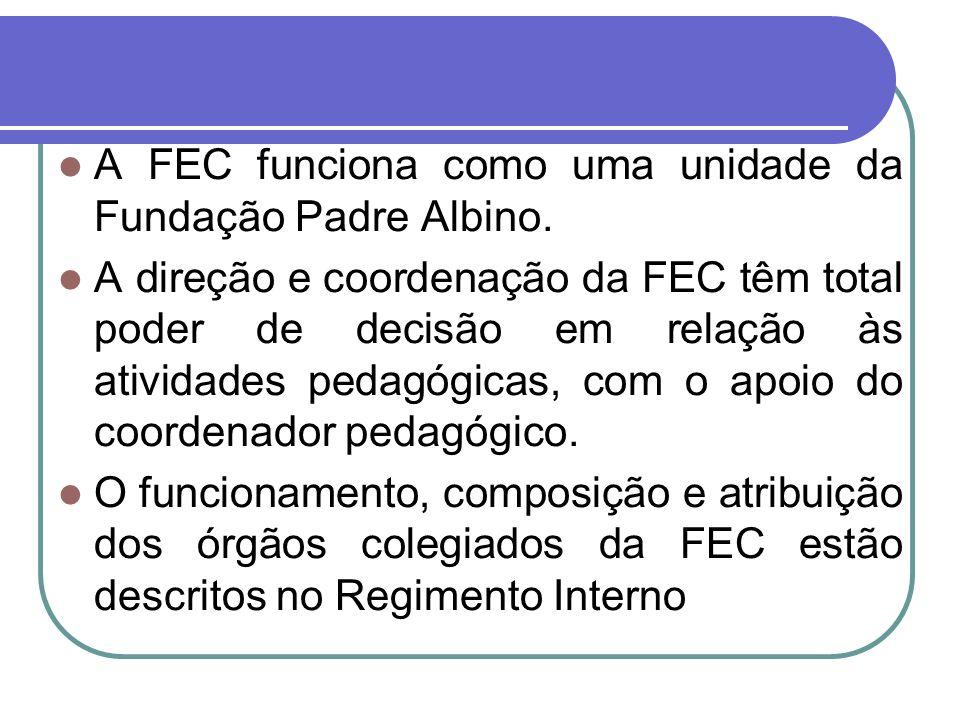 A FEC funciona como uma unidade da Fundação Padre Albino. A direção e coordenação da FEC têm total poder de decisão em relação às atividades pedagógic