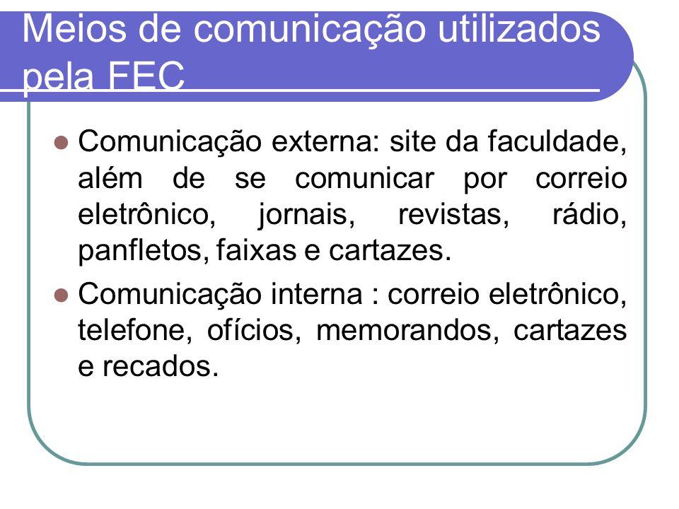Meios de comunicação utilizados pela FEC Comunicação externa: site da faculdade, além de se comunicar por correio eletrônico, jornais, revistas, rádio
