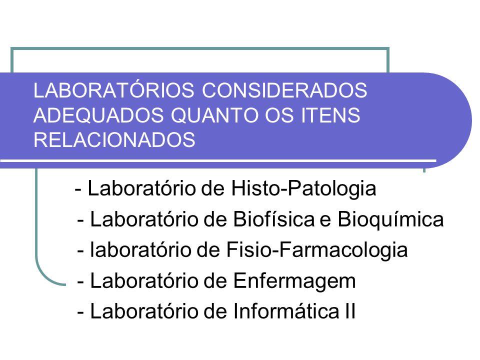 LABORATÓRIOS CONSIDERADOS ADEQUADOS QUANTO OS ITENS RELACIONADOS - Laboratório de Histo-Patologia - Laboratório de Biofísica e Bioquímica - laboratóri