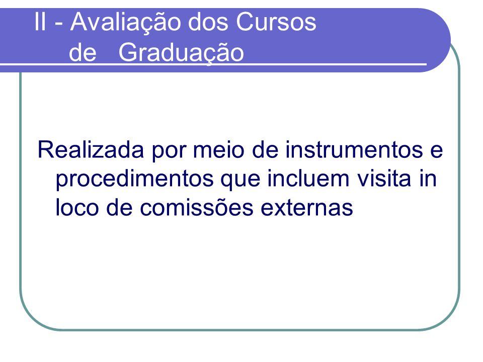 II - Avaliação dos Cursos de Graduação Realizada por meio de instrumentos e procedimentos que incluem visita in loco de comissões externas