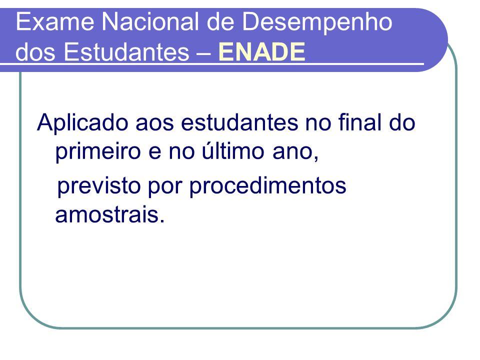 Exame Nacional de Desempenho dos Estudantes – ENADE Aplicado aos estudantes no final do primeiro e no último ano, previsto por procedimentos amostrais
