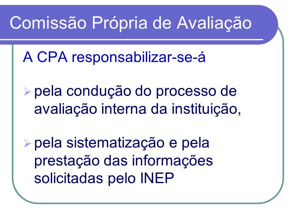 Comissão Própria de Avaliação A CPA responsabilizar-se-á pela condução do processo de avaliação interna da instituição, pela sistematização e pela pre