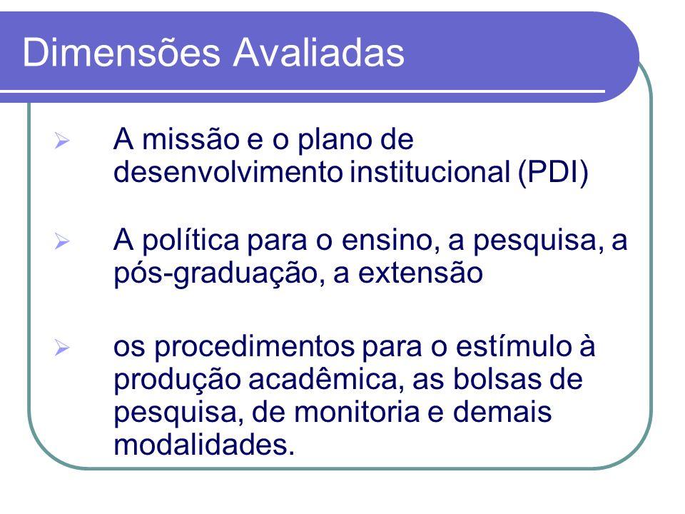 Dimensões Avaliadas A missão e o plano de desenvolvimento institucional (PDI) A política para o ensino, a pesquisa, a pós-graduação, a extensão os pro
