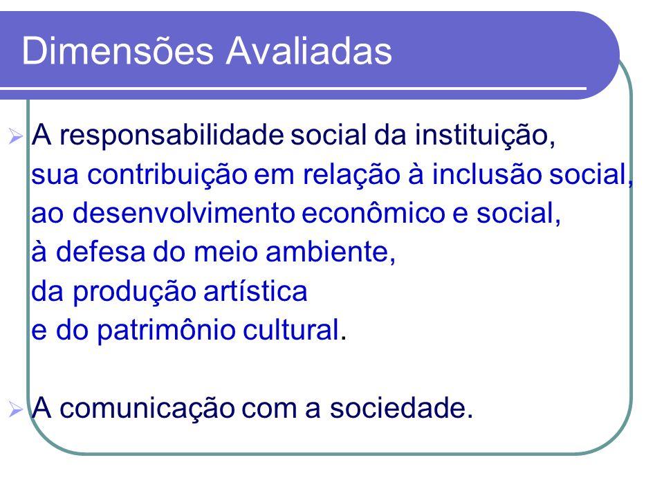 A responsabilidade social da instituição, sua contribuição em relação à inclusão social, ao desenvolvimento econômico e social, à defesa do meio ambie