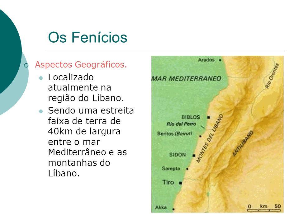 Os Fenícios Aspectos Geográficos. Localizado atualmente na região do Líbano. Sendo uma estreita faixa de terra de 40km de largura entre o mar Mediterr