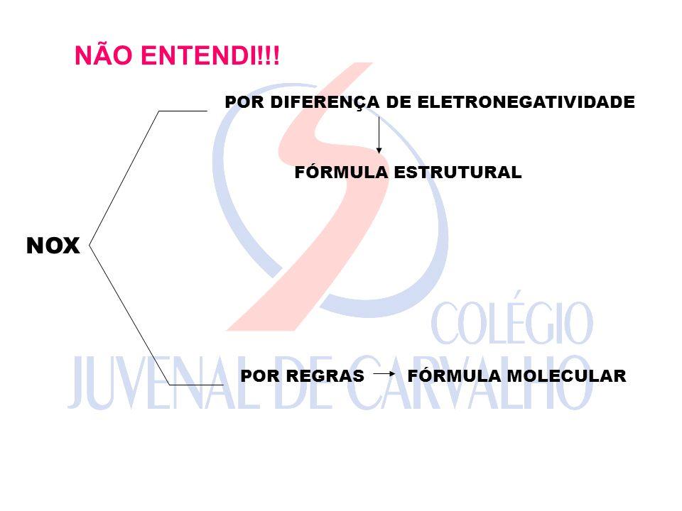 NÃO ENTENDI!!! NOX POR DIFERENÇA DE ELETRONEGATIVIDADE POR REGRAS FÓRMULA ESTRUTURAL FÓRMULA MOLECULAR