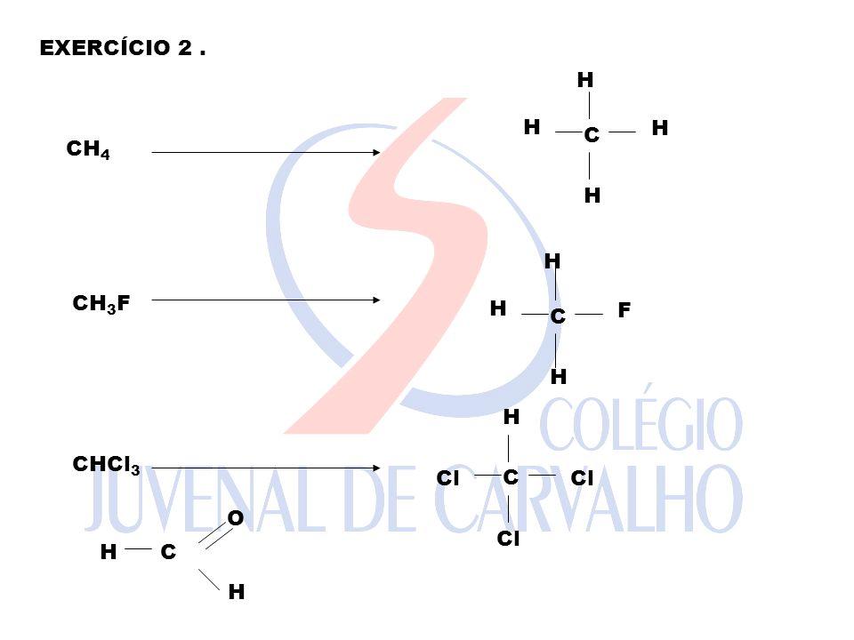 EXERCÍCIO 2. CH 4 C H H H H CH 3 F C H H F H CHCl 3 C H Cl H C O H