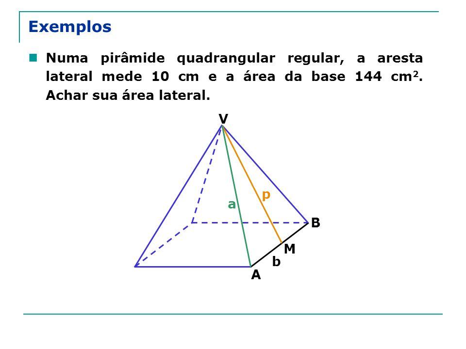 Exemplos Numa pirâmide quadrangular regular, a aresta lateral mede 10 cm e a área da base 144 cm 2. Achar sua área lateral. V B A M a p b
