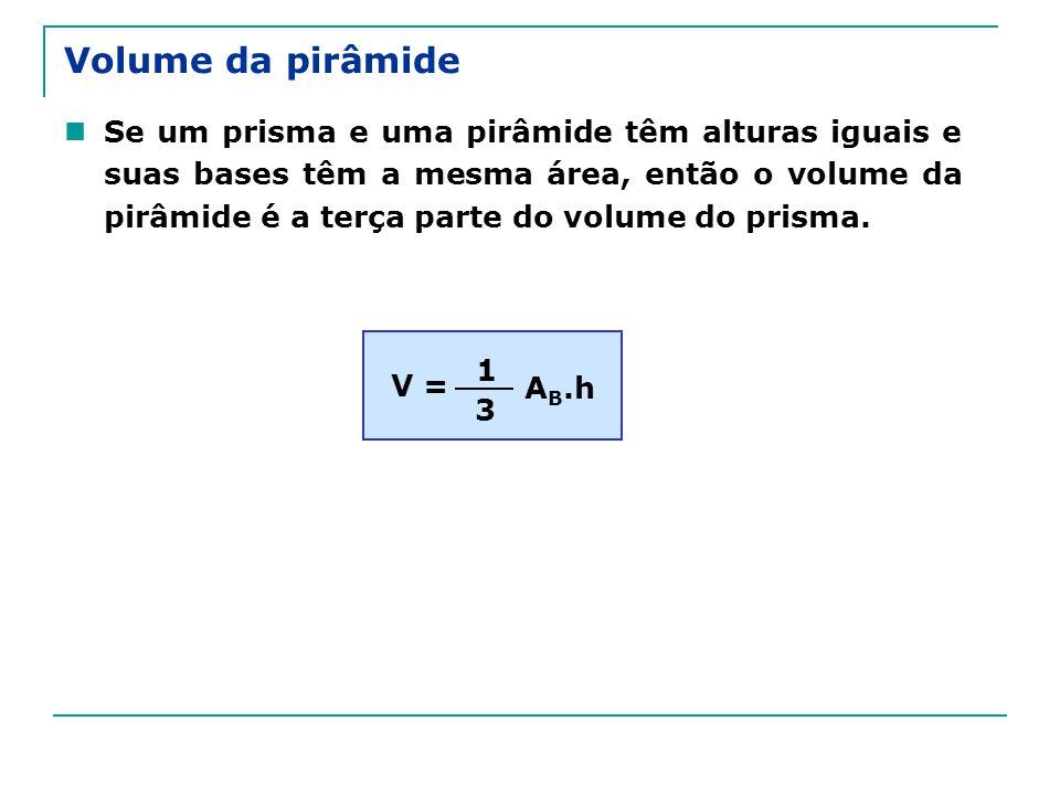 Volume da pirâmide Se um prisma e uma pirâmide têm alturas iguais e suas bases têm a mesma área, então o volume da pirâmide é a terça parte do volume do prisma.