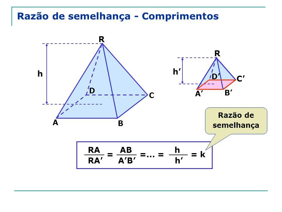 Razão de semelhança - Comprimentos R C A h D R A B C D h B = RA AB =...