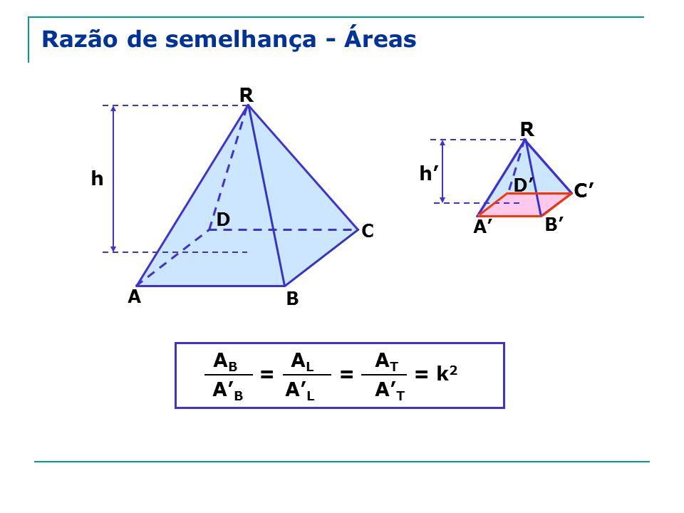 Razão de semelhança - Áreas R C A h D R A B C D h B = ABAB ABAB ALAL ALAL = ATAT ATAT = k 2