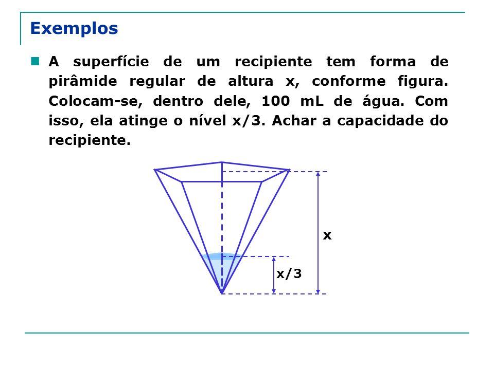Exemplos A superfície de um recipiente tem forma de pirâmide regular de altura x, conforme figura. Colocam-se, dentro dele, 100 mL de água. Com isso,