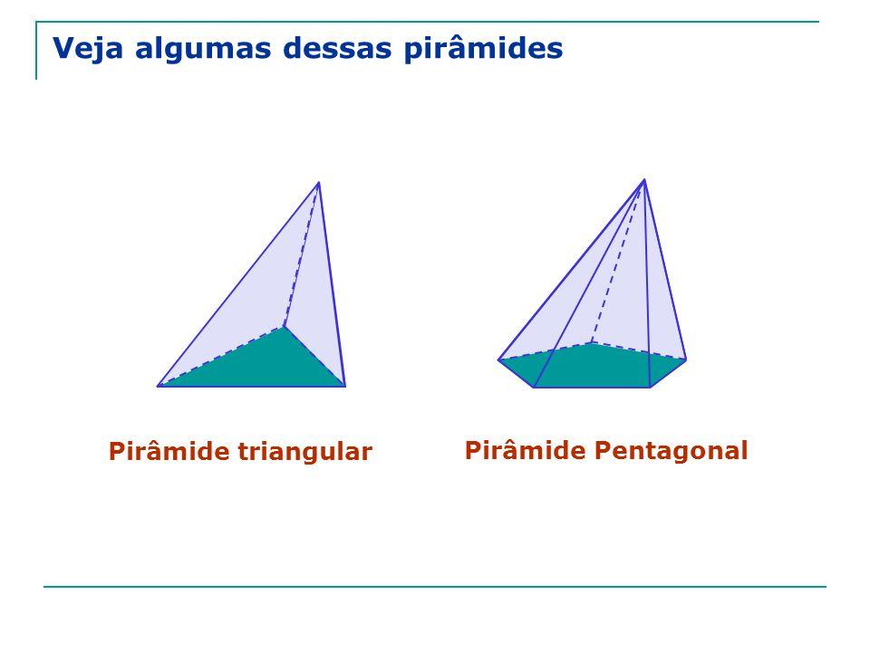 Pirâmide regular Pirâmide regular é aquela em que A base é um polígono regular; A projeção do vértice sobre o plano da base é o centro dessa base.