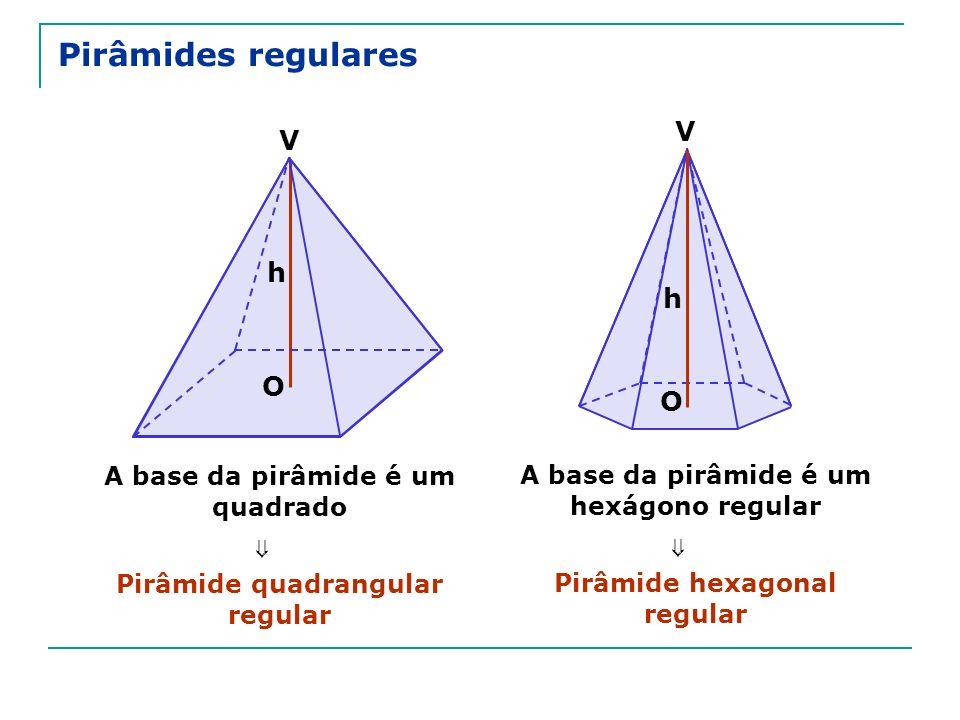 Pirâmides regulares A base da pirâmide é um quadrado Pirâmide quadrangular regular A base da pirâmide é um hexágono regular Pirâmide hexagonal regular