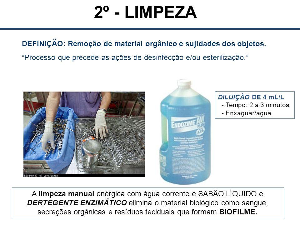 DEFINIÇÃO: Remoção de material orgânico e sujidades dos objetos.