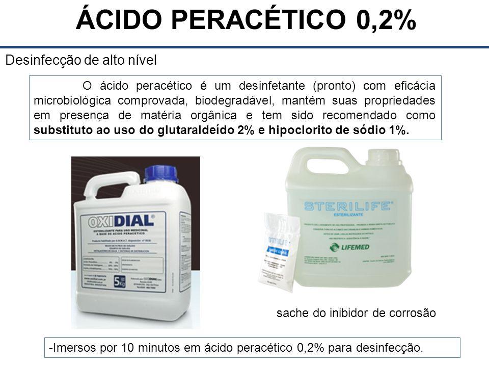 ÁCIDO PERACÉTICO 0,2% Desinfecção de alto nível O ácido peracético é um desinfetante (pronto) com eficácia microbiológica comprovada, biodegradável, mantém suas propriedades em presença de matéria orgânica e tem sido recomendado como substituto ao uso do glutaraldeído 2% e hipoclorito de sódio 1%.
