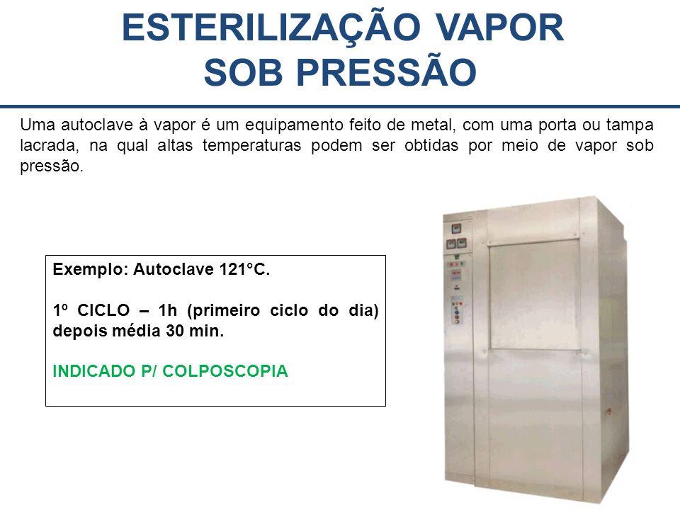 ESTERILIZAÇÃO VAPOR SOB PRESSÃO Uma autoclave à vapor é um equipamento feito de metal, com uma porta ou tampa lacrada, na qual altas temperaturas podem ser obtidas por meio de vapor sob pressão.