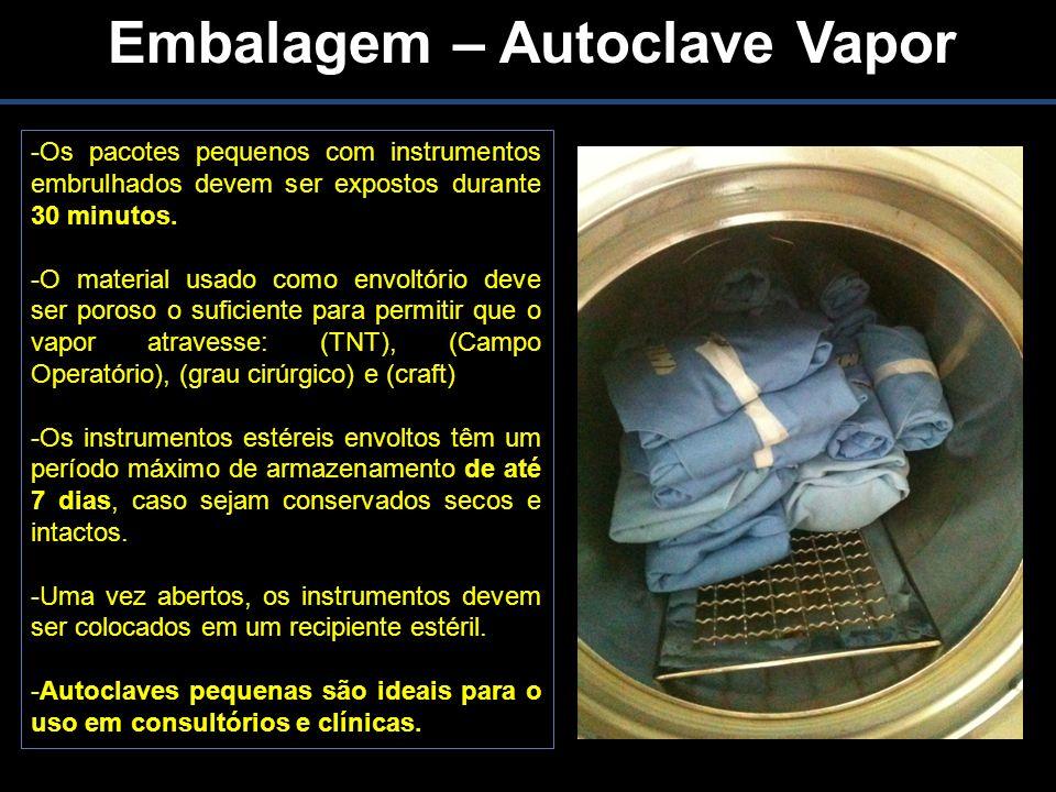 Embalagem – Autoclave Vapor -Os pacotes pequenos com instrumentos embrulhados devem ser expostos durante 30 minutos.