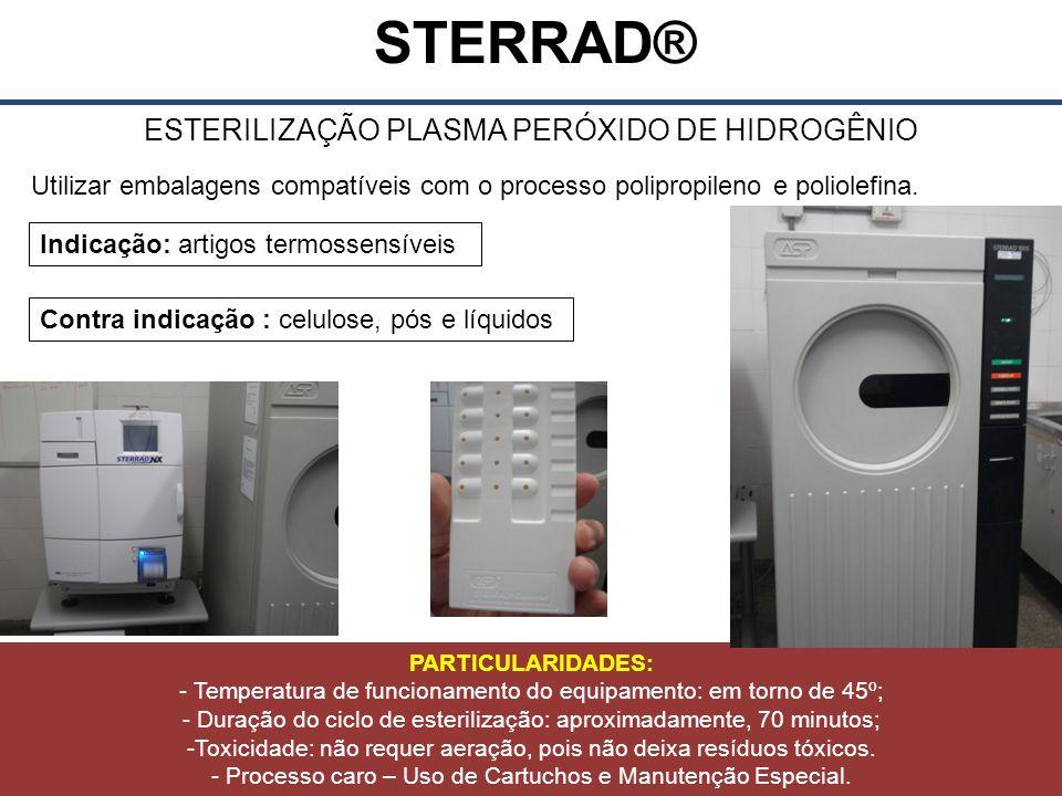 STERRAD® ESTERILIZAÇÃO PLASMA PERÓXIDO DE HIDROGÊNIO Utilizar embalagens compatíveis com o processo polipropileno e poliolefina.