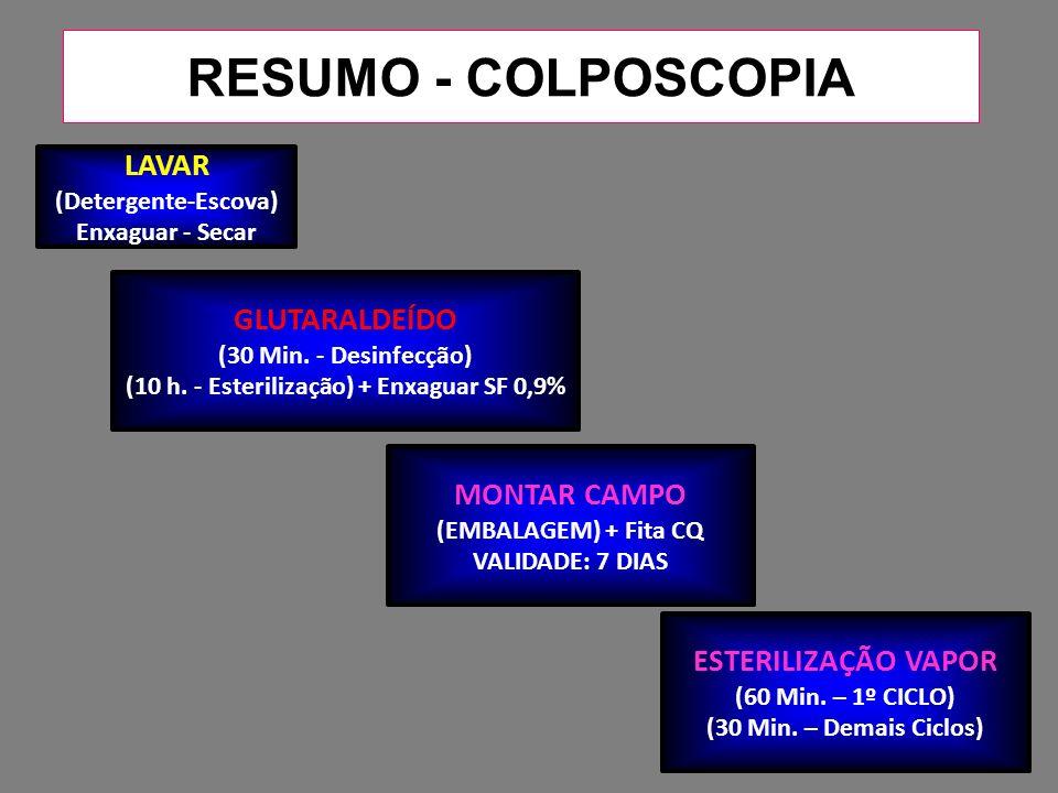 RESUMO - COLPOSCOPIA GLUTARALDEÍDO (30 Min.- Desinfecção) (10 h.
