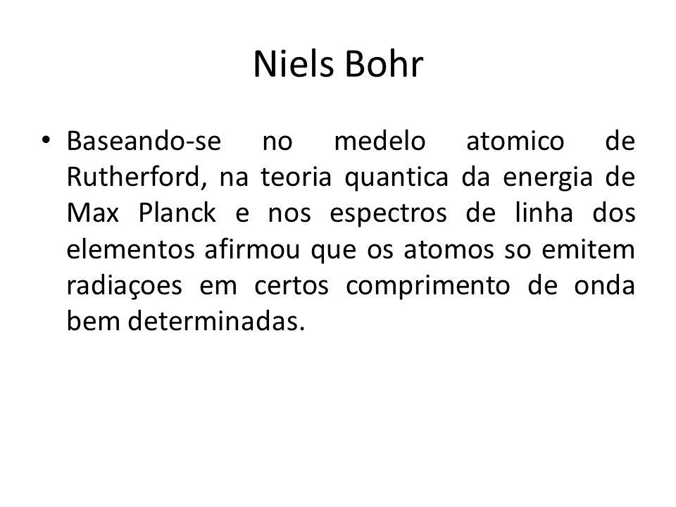 Niels Bohr Baseando-se no medelo atomico de Rutherford, na teoria quantica da energia de Max Planck e nos espectros de linha dos elementos afirmou que os atomos so emitem radiaçoes em certos comprimento de onda bem determinadas.
