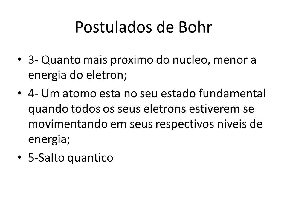 3- Quanto mais proximo do nucleo, menor a energia do eletron; 4- Um atomo esta no seu estado fundamental quando todos os seus eletrons estiverem se movimentando em seus respectivos niveis de energia; 5-Salto quantico Postulados de Bohr