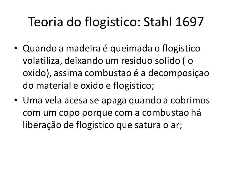 Teoria do flogistico: Stahl 1697 Quando a madeira é queimada o flogistico volatiliza, deixando um residuo solido ( o oxido), assima combustao é a deco