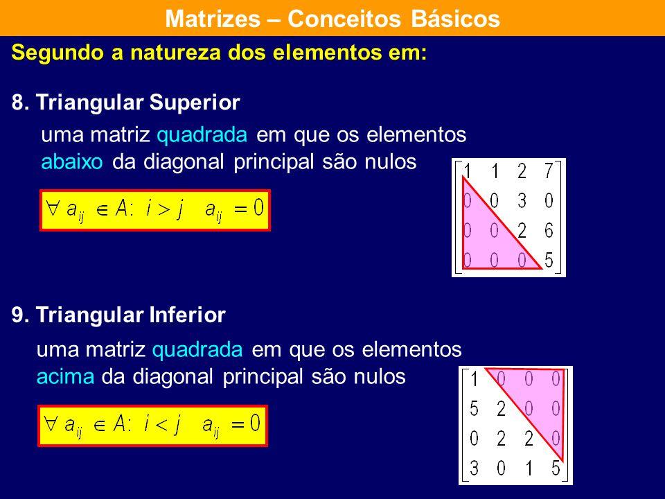 Segundo a natureza dos elementos em: 5. Real: 6. Complexa: 7. Nula: se todos os seus elementos são reais se pelo menos um dos seus elementos é complex