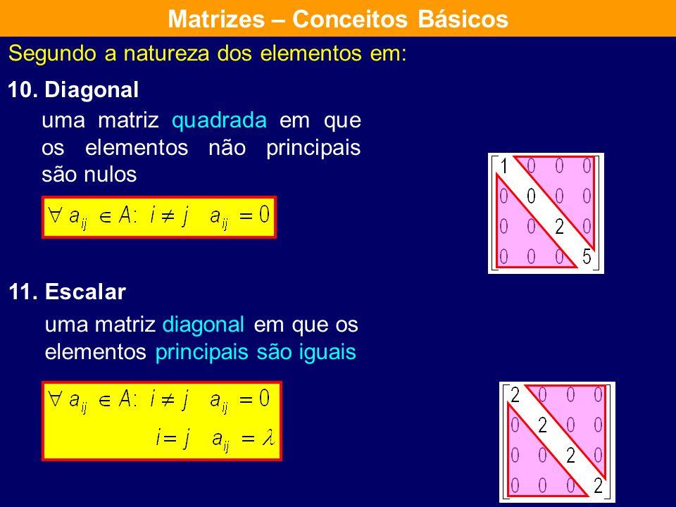 Segundo a natureza dos elementos em: 8. Triangular Superior 9. Triangular Inferior uma matriz quadrada em que os elementos abaixo da diagonal principa