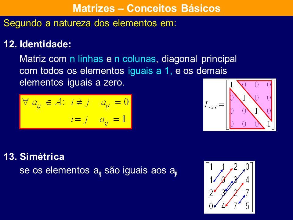 Segundo a natureza dos elementos em: 10. Diagonal 11. Escalar uma matriz quadrada em que os elementos não principais são nulos uma matriz diagonal em