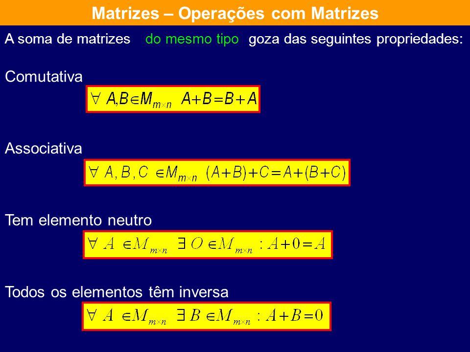 Soma de Matrizes Sejam A e B duas matrizes do mesmo tipo denomina-se soma de A com B a uma matriz C do mesmo tipo que se obtêm somando os elementos da
