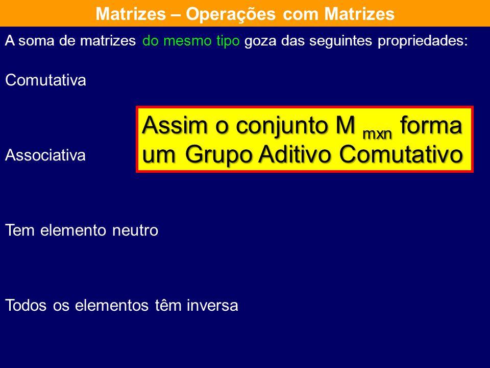 goza das seguintes propriedades: Comutativa Associativa Tem elemento neutro Todos os elementos têm inversa A soma de matrizes do mesmo tipo Matrizes –