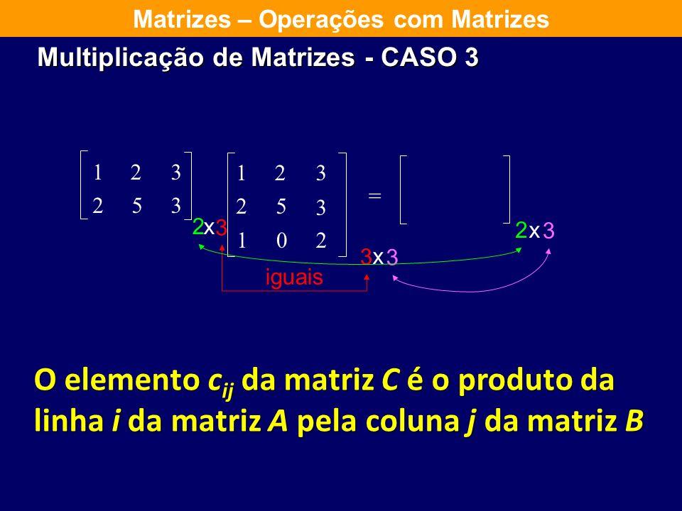 Multiplicação de Matrizes CASO 2 Matrizes – Operações com Matrizes Multiplicar uma matriz com n linhas por uma matriz coluna Faz-se o produto de cada