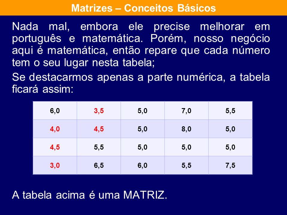 Veja a tabela abaixo com as notas de um aluno qualquer, em cinco disciplinas durante o ano de 2010. Matrizes – Conceitos Básicos