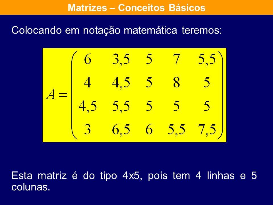 Colocando em notação matemática teremos: Esta matriz é do tipo 4x5, pois tem 4 linhas e 5 colunas.
