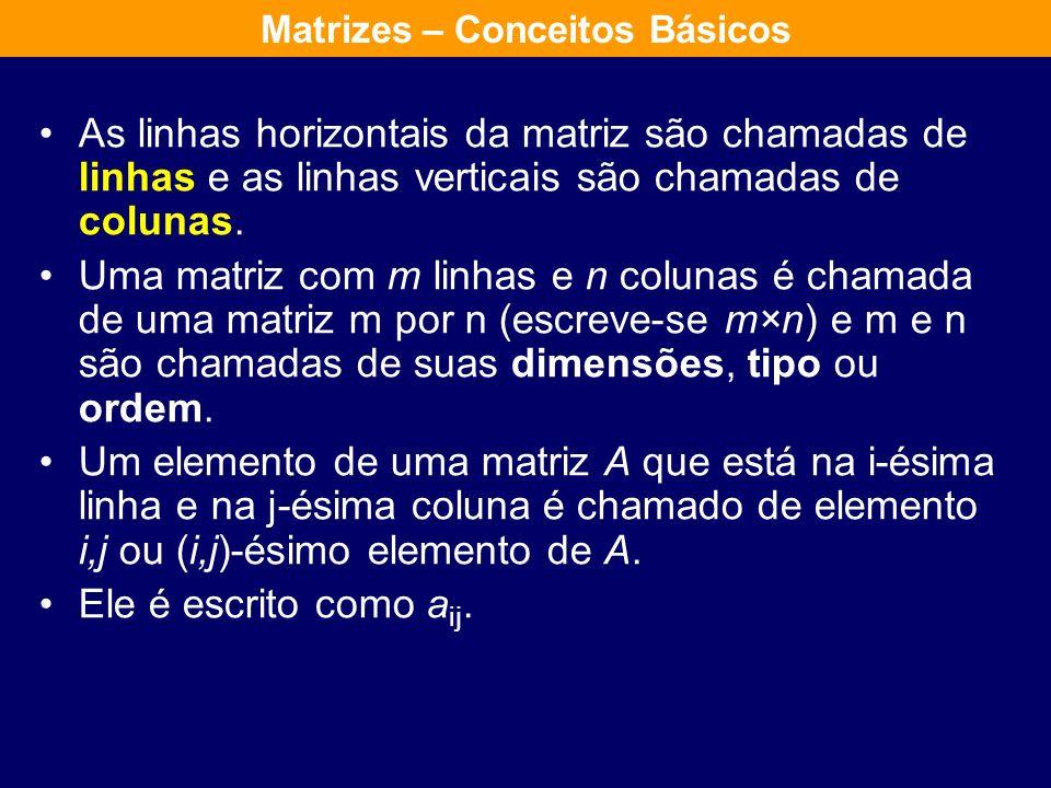 Soma de Matrizes Sejam A e B duas matrizes do mesmo tipo denomina-se soma de A com B a uma matriz C do mesmo tipo que se obtêm somando os elementos da matriz A com os elementos da matriz B da mesma posição.