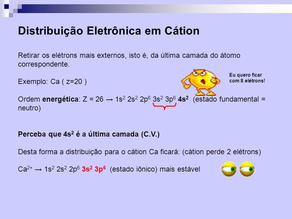 Distribuição Eletrônica em Ânion Colocar os elétrons no subnível incompleto.