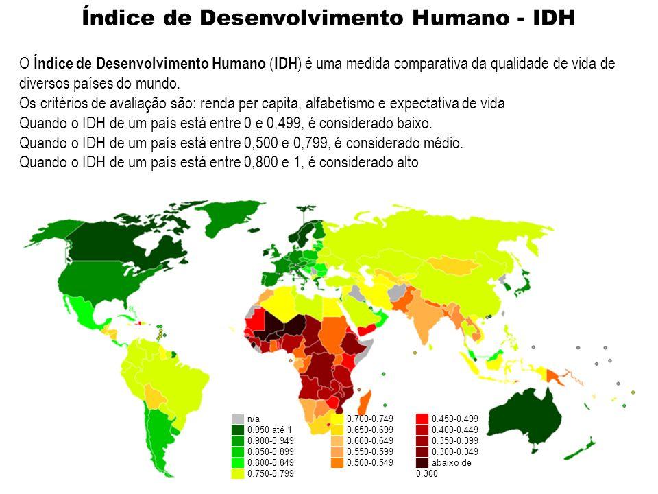 n/a 0.950 até 1 0.900-0.949 0.850-0.899 0.800-0.849 0.750-0.799 0.700-0.749 0.650-0.699 0.600-0.649 0.550-0.599 0.500-0.549 0.450-0.499 0.400-0.449 0.350-0.399 0.300-0.349 abaixo de 0.300 O Índice de Desenvolvimento Humano ( IDH ) é uma medida comparativa da qualidade de vida de diversos países do mundo.