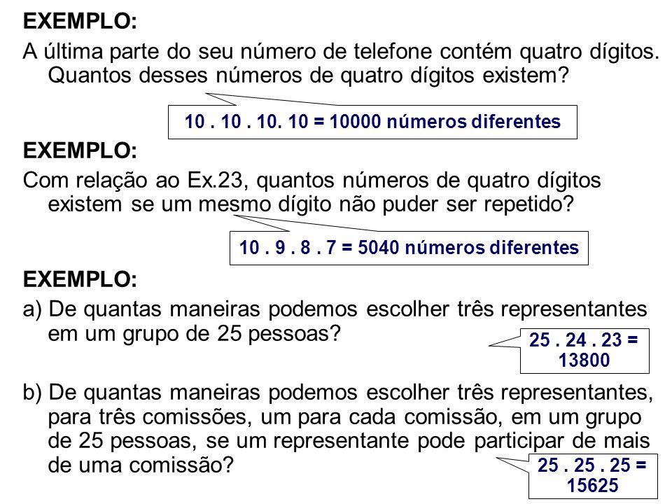 EXEMPLO: A última parte do seu número de telefone contém quatro dígitos. Quantos desses números de quatro dígitos existem? EXEMPLO: Com relação ao Ex.