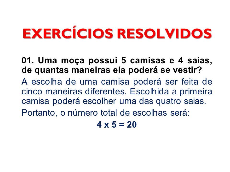 EXERCÍCIOS RESOLVIDOS 01. Uma moça possui 5 camisas e 4 saias, de quantas maneiras ela poderá se vestir? A escolha de uma camisa poderá ser feita de c