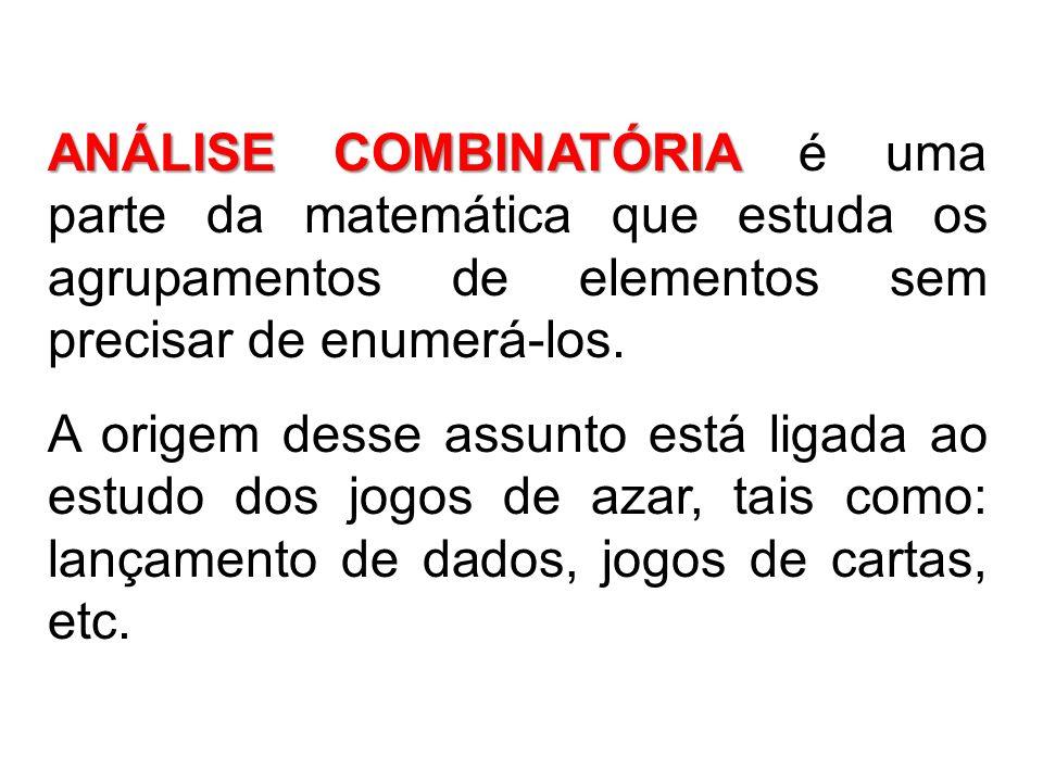ANÁLISE COMBINATÓRIA ANÁLISE COMBINATÓRIA é uma parte da matemática que estuda os agrupamentos de elementos sem precisar de enumerá-los. A origem dess