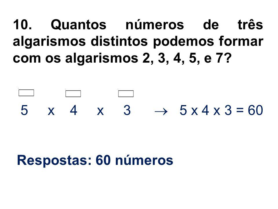 10. Quantos números de três algarismos distintos podemos formar com os algarismos 2, 3, 4, 5, e 7? 5 x 4 x 3 5 x 4 x 3 = 60 Respostas: 60 números
