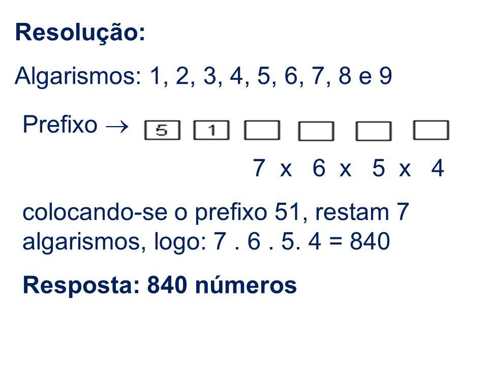 Resolução: Algarismos: 1, 2, 3, 4, 5, 6, 7, 8 e 9 Prefixo 7 x 6 x 5 x 4 colocando-se o prefixo 51, restam 7 algarismos, logo: 7. 6. 5. 4 = 840 Respost