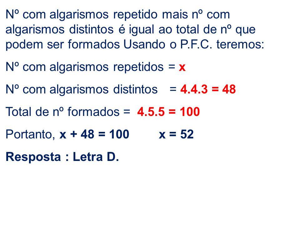 Nº com algarismos repetido mais nº com algarismos distintos é igual ao total de nº que podem ser formados Usando o P.F.C. teremos: Nº com algarismos r