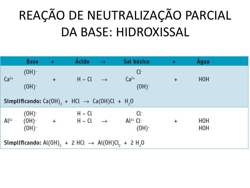 REAÇÃO DE NEUTRALIZAÇÃO PARCIAL DA BASE: HIDROXISSAL