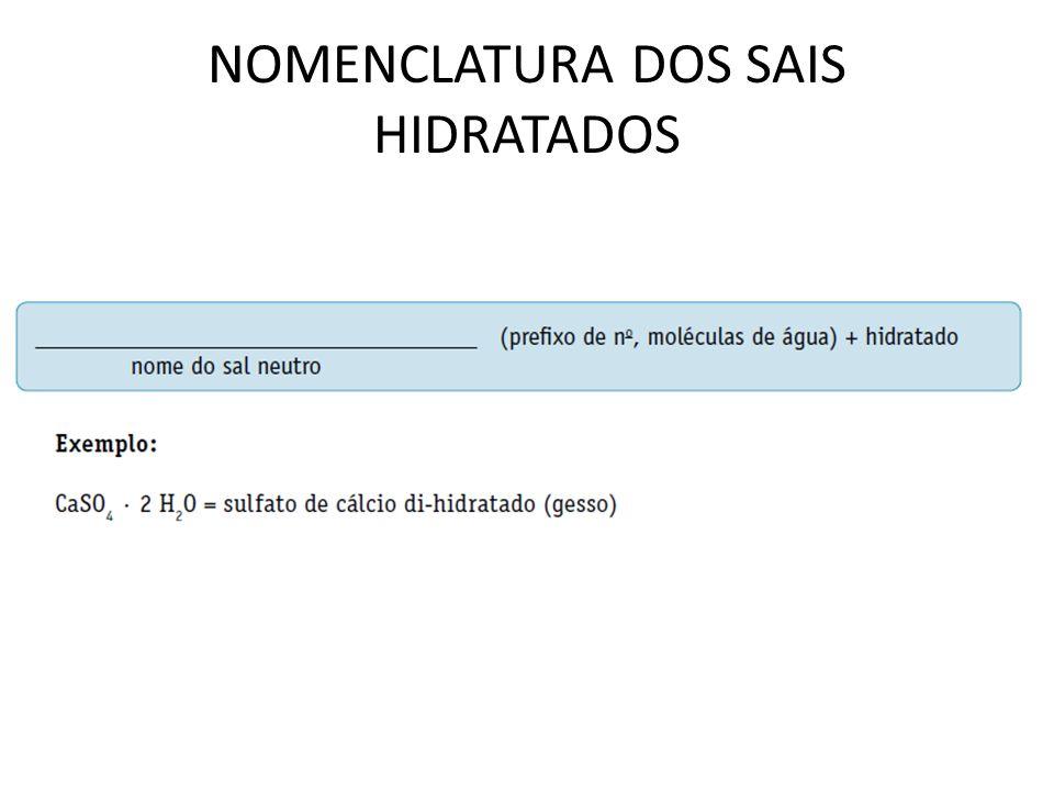 NOMENCLATURA DOS SAIS HIDRATADOS