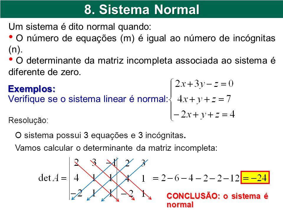8. Sistema Normal Um sistema é dito normal quando: O número de equações (m) é igual ao número de incógnitas (n). O determinante da matriz incompleta a