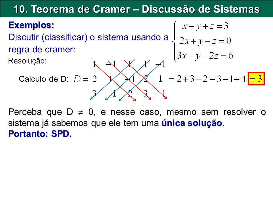 10. Teorema de Cramer – Discussão de Sistemas Discutir (classificar) o sistema usando a regra de cramer: Exemplos: Resolução: Cálculo de D: única solu
