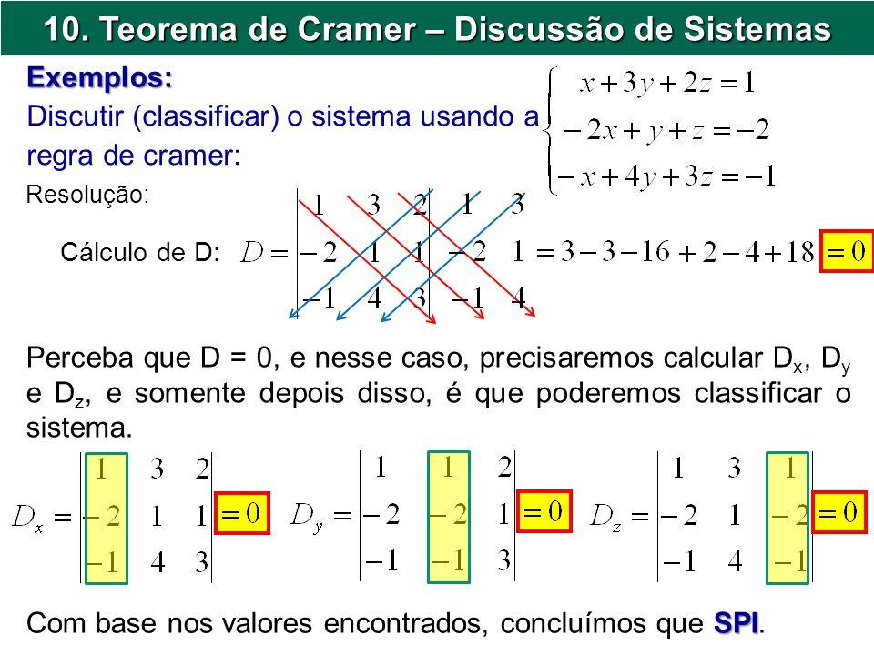 10. Teorema de Cramer – Discussão de Sistemas Discutir (classificar) o sistema usando a regra de cramer: Exemplos: Resolução: Cálculo de D: Perceba qu