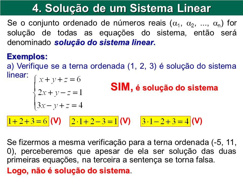 4. Solução de um Sistema Linear solução do sistema linear. Se o conjunto ordenado de números reais ( 1, 2,..., n ) for solução de todas as equações do